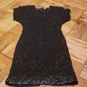 Vintage Dark Blue Sequin Evening Dress